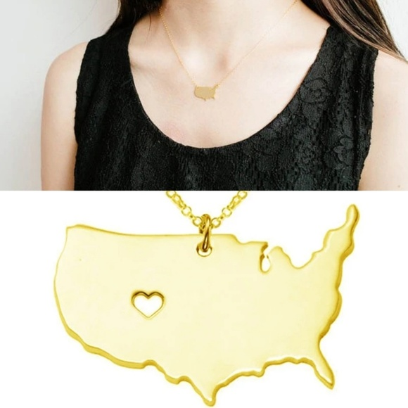 America Map Necklace Jewelry USA Map pendant NWT